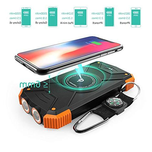 Solar Power Bank, Portable 10,000mAh External Battery Pack Type Input Flashlight, Compass