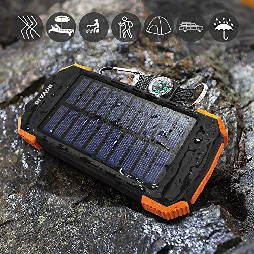 Solar Power Portable External Battery Pack C Input Compass