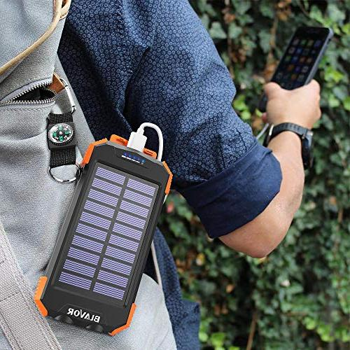 Solar Power Bank, Portable Charger 10,000mAh Battery C Input Compass