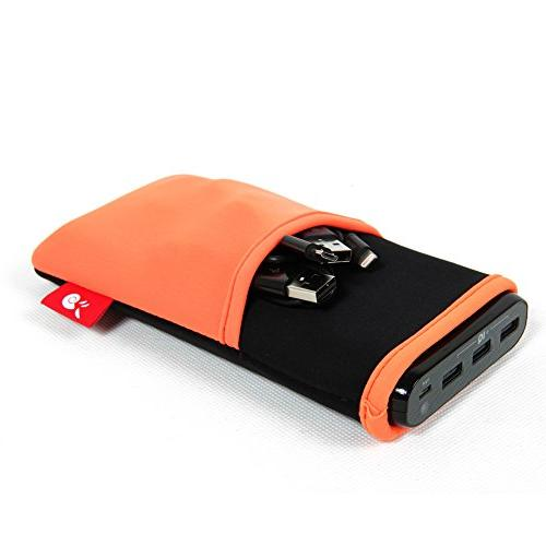 Hermitshell Soft Cover Sleeve Extra Pocket Compact for Anker Portable Size: 2nd Gen E7 External Battery Orange
