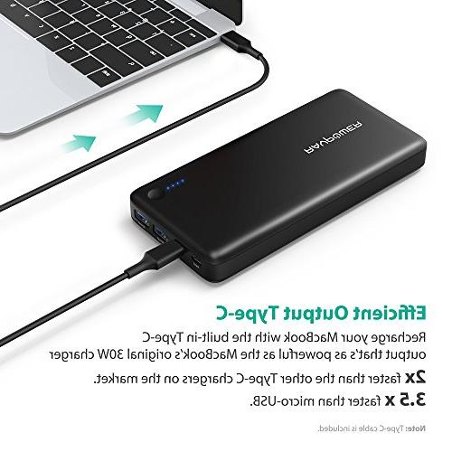 PD C Hubs Portable Power 20100mAh Type C Port Data Transfer, C Output, Battery Pack for MacBook, Smartphones