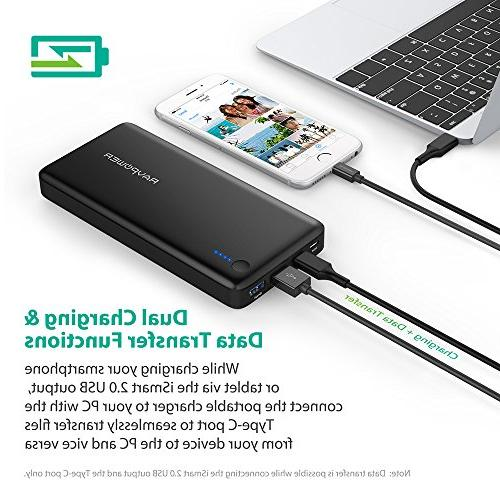 PD USB Hubs Portable RAVPower 20100 Power Bank 20100mAh Type Data Transfer, USB C/Type C Pack Smartphones
