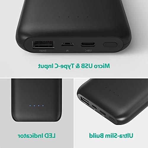 USB RAVPower 10000mAh Portable Ultra-Slim 10000 Charger with 5V/3A Type-C Port Power Pack for Nintendo S8, iPhone,