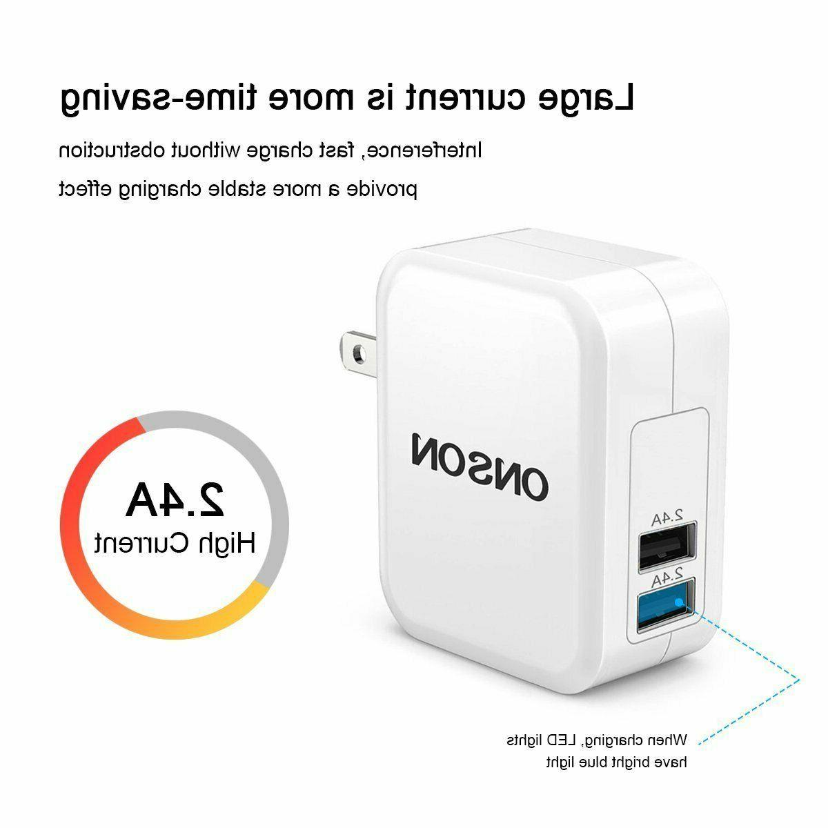 ONSON Charger,4.8A 24W Dual Portable Travel Wall Adapter