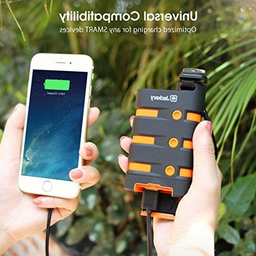 Waterproof Portable Charger, Jackery Armor Power Bank 9000mAh External Emergency LED for Camping, Hiking Other Outdoor