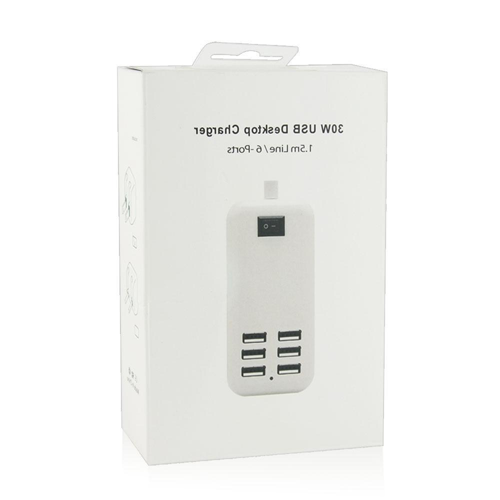 White 6-Port USB Portable Travel Home Wall Charger