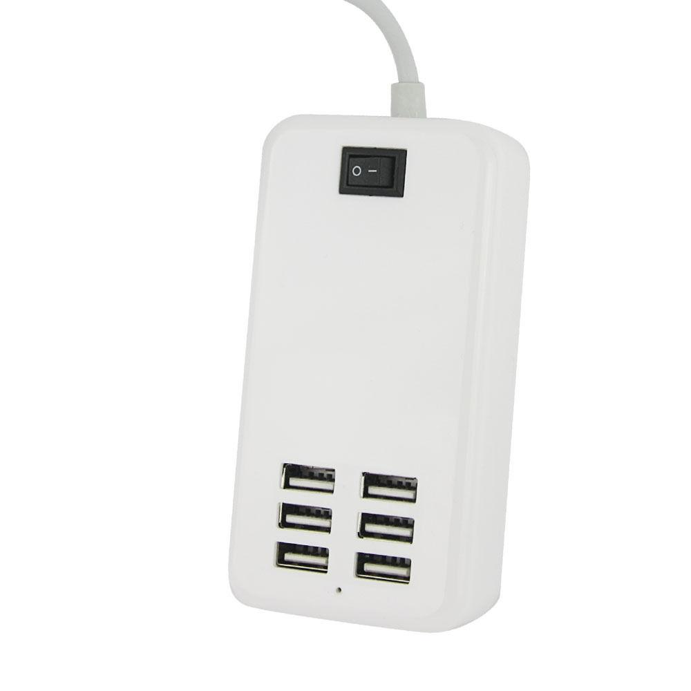 White 6-Port Travel AC Home Wall Power Adapter Charger