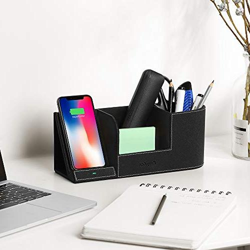 EasyAcc Wireless Desk Organizer Wireless Charging Station iPhone 8 S7 and Pen Holder