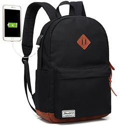 Laptop Backpack, Waterproof School Backpack With USB Chargin