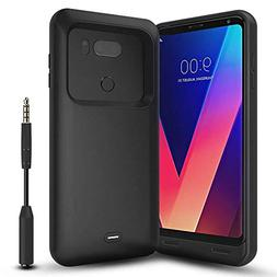 Snowpink LG V30 Battery Case with Audio Jack Cable, 4400mAh