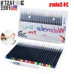 24 Paint Watercolor Brush Pens Markers with Flexible Brush T
