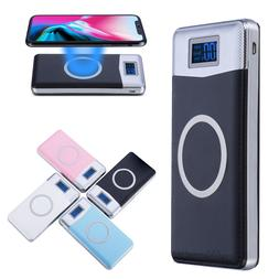 NEW 500000mAh Power Bank Qi Wireless Charging 2 USB LED Port