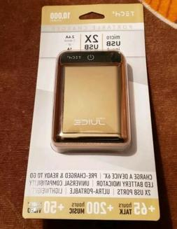NEW NANO JUICE 10,000 PORTABLE CHARGER BY TECH 2 *GOLD *CHAR