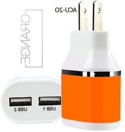 Orange Dual Port USB Wall Charger Portable Universal Power A