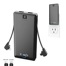 Portable Charger Built in Lightning Cable With Wall Plug AC
