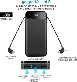 Portable Charger Power Bank 20000mAh Built in Cables Fast Ch