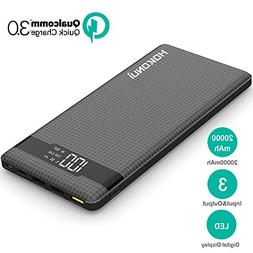 Portable Charger Power Bank, Hokonui 20000mAh External Batte