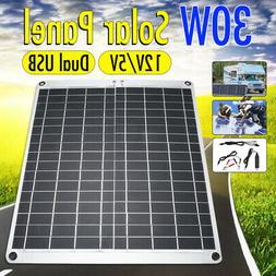 Portable Power 30W 12V/5V  Solar Panel Dual Volt Output USB