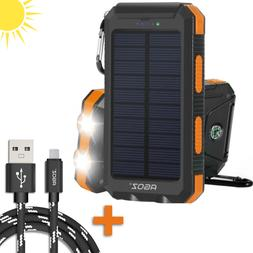 PORTABLE Solar Power Bank + Braided FAST Charger Cable Cord