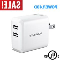 Portable USB Charger, POWERADD Dual Port 24W Wall Charger 5V