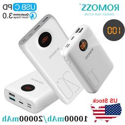 ROMOSS Power Bank 10000/20000mAh Type C Portable Charger wit