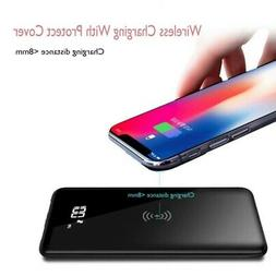 Power Bank 10000mAH LCD Qi Wireless Charger Portable Polymer