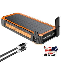Powerful Portable Solar Charger Power Bank Real 30,000mAh Ca