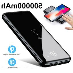 Qi Wireless & 2USB Charger Portable Power Bank 500000mAh Ext