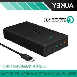 Aukey Quick Charge 3. 0 30000mah Power Bank Usb Mobile Porta