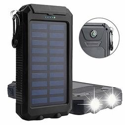Solar Charger, Solar Power Bank 20000mAh Waterproof Portable
