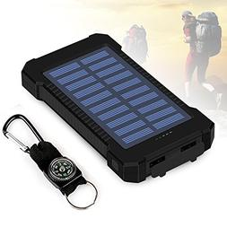 Foreverrise 10000mAh Solar Charger Dual USB Battery Pack Por