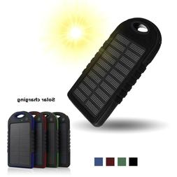 Solar Charger Dual USB Portable Power Bank Waterproof 6000 m