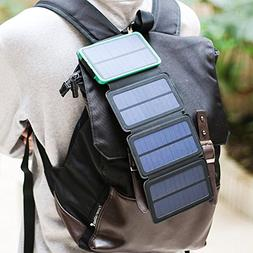 Solar Charger Energy 10000 mAh Power Bank with 4 Foldable Po