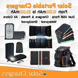 Solar Portable Charger Dual USB Battery Outdoor Waterproof l