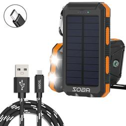 Solar Power Bank PORTABLE Dual USB Port+Agoz Type-C Charger