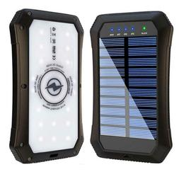 Solar Power Bank Portable Solar Charger 15,000mAH Qi Wireles