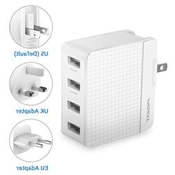 PISEN USB Travel Adaptor - Universal 4 USB Wall Charger with