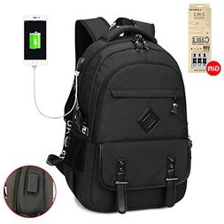 Waterproof Business Laptop Backpack with USB Charging Port,