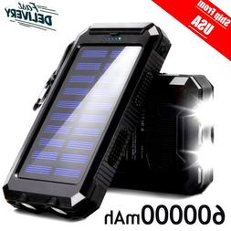 Waterproof Solar Power Bank 600000mAh Huge Capacity Battery